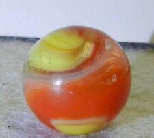 #10537m Vintage Akro Agate Red and Yellow Popeye Marble .62 Inches