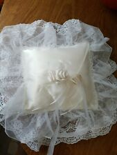 Square Lace Flower Wedding Ring Bearer Pillow