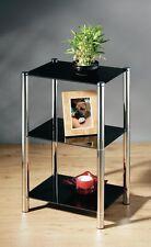Stylish 3 Tier Black Glass Shelving Unit, 3 Shelves