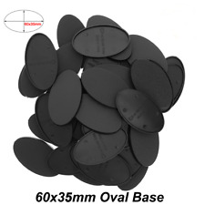 80pcs 60x35mm Oval Black Plastic Base Warhammer Wargame Game Play Scenery Bases