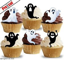 PRE-CUT FUNNY GHOSTS EDIBLE WAFER PAPER CUP CAKE TOPPERS HALLOWEEN DECORATIONS