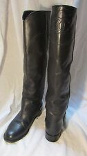 CHANEL Black Ascot Tall Leather CC Logo Knee High Riding Boots Size 38