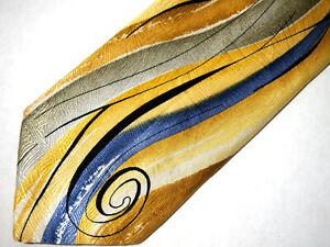 "J Garcia Mens Necktie Tie Emerging Elephant 38 Gold Olive Green Abstract Art 60"""