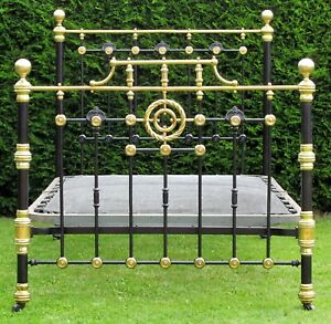 """Victorian Brass and Iron Standard Double ( 4' 6"""" wide ) Bed with Spring Base"""