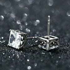 4.10Ct Princess Cut VVS1/D Diamond Solitaire Stud Earrings 18K White Gold Over