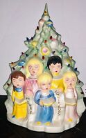 "Vintage Working Electrified Ceramic Christmas Choir Kids Carolers 16"" Light Up"