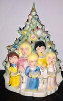 "Vintage Working Electrified Ceramic Christmas Choir Kids Carolers 16"" Light Up"