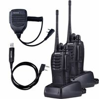 2x BaoFeng BF-888S UHF 5W 16Channel FM Ham Two Way Radio Walkie Talkie Cable Mic