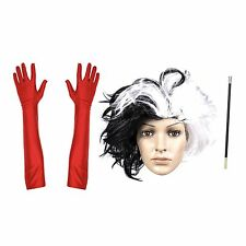 Dalmatian Woman Fancy Dress Wig / Cigarette Holder / Red Elbow Gloves