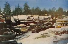 BIG BEAR LAKE, CA California MAIN STREET~Snow Covered 40's CARS  Chrome Postcard
