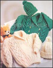 "Knitting Pattern • Childrens • Chunky Aran Jacket Sweater & Bobble Hat • 20-26"""