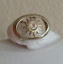 Tuchhalter Schalhalter Tuchring oval 3,5 cm silberfarben Sonne Stein klar *NEU*
