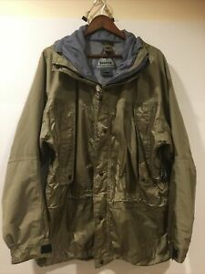 Solstice Men's Rugged Outerwear Microshed Large Rain Jacket Hooded Olive Green