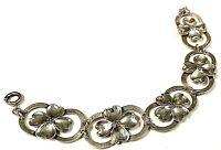 """Vintage Mid-Century Sterling Silver Dogwood Link Bracelet 7 3/4"""""""