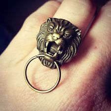 Unique VINTAGE GOLD LION DOOR KNOCKER RING retro ADJUSTABLE fab VINTAGE STYLE