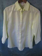 Coldwater Creek Women's Shirt Size XS No Iron 100% Cotton Yellow Career Top  NWT