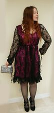 New Nomads Clothing pink party cocktail dress with lace overlay. Size L Gothic