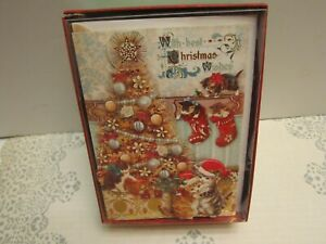 Punch Studio CATS & KITTYS CHRISTMAS TREE CHRISTMAS CARDS. Box of 12~ GORGEOUS!