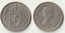1960 Great Britain 1 shilling coin Scottish version