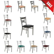 """""""Pick Your Color"""" Seating Clear Coat Steel Cross Back Chair Detached Seat Type"""