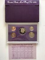USA 1991 Proof Set San Francisco Original Box PP polierte Platte 1c-50c