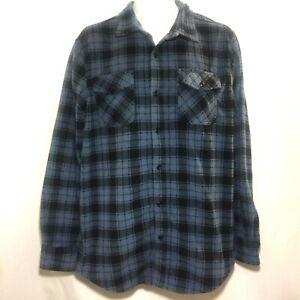 American Rag Mens Shirt Plaid Sz Large Long Sleeves Fleece Blue Black
