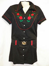 Rodeo Dress Country Western Embroidered Retro Button Shirt Short Mini Belt Red
