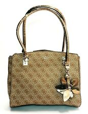 Guess Sibyl Logo Large Girlfriend Satchel Brown Shoulder Bag Purse