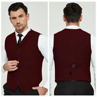 Mens Waistcoat Blended Wool Mix Formal Vest Herringbone Tweed Vest Jacket Gilet