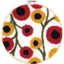 Punch Needle Kit ~ Dimensions Floral Pattern Yellow & Red Flowers #72-70023
