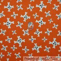 Cotton DIY Craft Quilt BTY SKELETON FABRIC Skull Crossbones Gothic on Orange