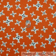 BonEful Fabric FQ Flannel Cotton Quilt Orange B&W Skull Cross Bone Skeleton BOY