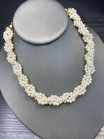 Vintage White woven imitation pearl beaded Wedding Flower Girl Necklace 14""