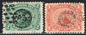 EL SALVADOR 1874 STAMP Sc. # 5/6 USED