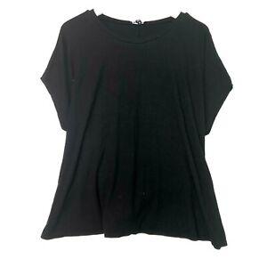 Express ribbed short sleeve oversized top black tie waist size xl