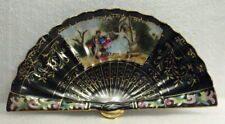 BEAUTIFUL DECORATED JAPANESE GOLD TRIMMED FAN DISH HANDPAINTED AND SIGNED