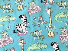 Blue FQ Fat Quarter Fabric Kids Soft Toys Teddy Zebra 100% Cotton Quilting