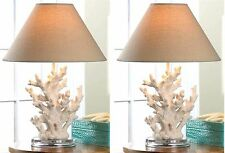 """Set of Two (2) ** 18.6"""" CORAL SCULPTURE NIGHT STAND TABLE DESK MANTEL LAMP * NIB"""