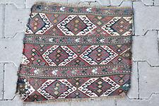 Caucasian Rug 19''x16'' +100 Age ANTIQUE  Fragment Sumak Kilim 50x43cm