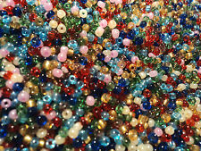 75 grams MULTI COLOUR RAINBOW & GOLD GLASS 2mm SEED BEADS 75g