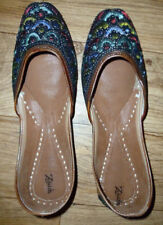 **ZEBIDAH** Womens Flat Shoes Embroidered Size ((5)) Leather. New/No/Tags