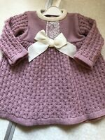 Baby Girl Spanish Knitted Dress Dusky Pink Chunky Ivory Lace 0-3 3-6 6-9 Mths