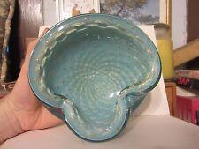 Venetian Alfredo Barbini Aqua Controlled Bubbles Glass Ashtray Bowl Murano Italy