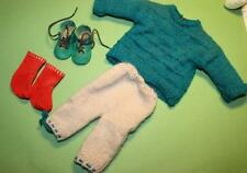 Kleidung Puppe Puppenkleidung grüne Leder-Schuhe Socken handgestrickt Hose Pullo