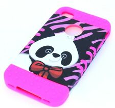 iPHONE 4 4G 4S - HARD & SOFT RUBBER HYBRID ARMOR CASE PINK ZEBRA BLACK PANDA BOW