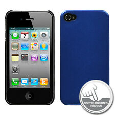APPLE iPHONE 4 4S METALLIC ALUMINUM W/ SOFT INTERIOR RUBBER SNAP-FIT CASE BLUE