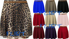 Women Skater Skirt Ladies Belted Pleated Mini Casual Flared Party Dresses 8-14