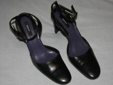 "9 M DKNY Black Leather Pumps Ankle Strap 3.75"" High Stocky Heels Dressy Classic"
