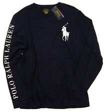 Polo Ralph Lauren Men's Navy Big Pony Logo Custom Slim Fit Long Sleeve T-Shirt