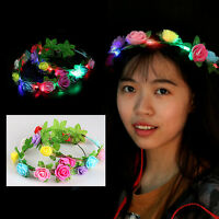 Wedding Party Crown Flower Headband LED Light Up Hair Wreath Hairband Garlands S